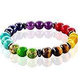 FABACH Spirituals Chakra Perlenarmband mit 8mm Lavastein-Perlen und Onyx-Natursteinen (schwarz) - Yoga Armband aus 21 Heilsteinen - Energiearmband für Damen und Herren