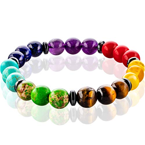 FABACH Chakra Perlenarmband mit 21 Perlen Aller Sieben Chakren - Yoga Armband aus Heilsteinen - Energiearmband für Damen und Herren