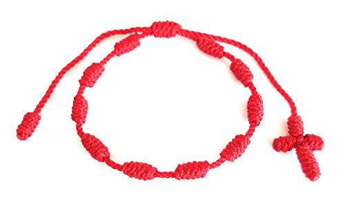 Lucky Charms USA Red String of Fate Rosary Bracelet, Decenario Bracelet, Pulsera Decenario, Cross Bracelet Knotted with Woven Cross, Red