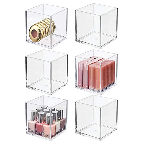 """mDesign Plastic Square Makeup Organizer for Bathroom Drawers, Vanity, Countertop - Storage Bins for Eyeshadow Palettes, Lipstick, Lip Gloss, Blush, Concealers, Hair Ties - 4"""" Square, 6 Pack - Clear"""