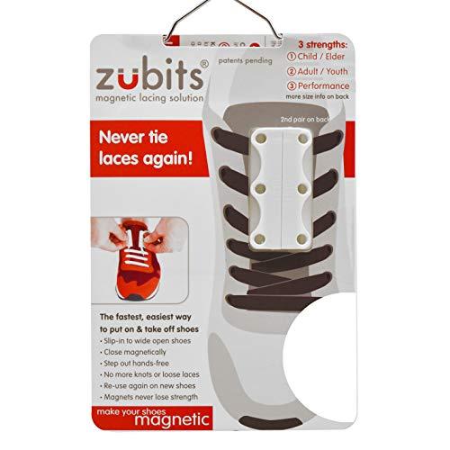 zubits® - Magnetische Schuhbinder/Magnetverschlüsse für Schuhe - Größe #1 Kinder und Senioren in weiß
