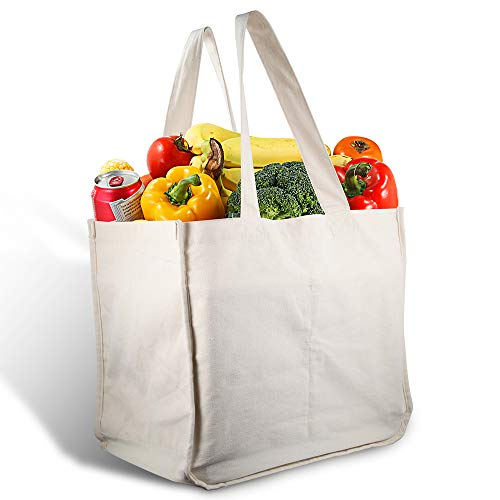 Canvas Grocery Shopping Bags with Bottle Sleeves, MICARSKY 100% Organic Cotton Cloth Reusable and Washable & Eco-friendly Wine Totes with Handles (1 Bag)