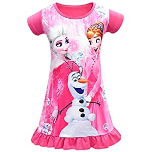 AOVCLKID Little Girls Princess Pajamas Toddler Nightgown Dress