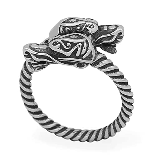 Anillos De Dragón Doble Vikingo Nórdico, Hombres Ajustable Acero Inoxidable Joyería De Dedo, Nudo Celta Amuleto Pagano Anillo Retorcido,12