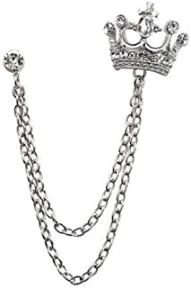 AuCatStore(TM) Crystal Rhinestone Crown with Layer Chain Tassels Brooch Lapel Pin Coat Suit