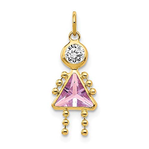 14k Yellow Gold June Girl Birthstone Pendant Charm Necklace Kid Fine Jewelry For Women Gifts For Her