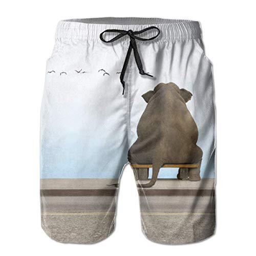 Bañador para Hombre Reloj Elefante The Sky Bird Surfing Beach Board Shorts Traje de baño, Talla XL