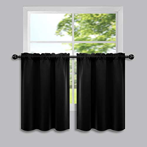 30 Inch Curtains for Small Windows Kitchen 2 Pieces Rod Pocket Blackout Room Darkening Short Curtains for Bathroom Black