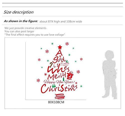 ZHOUPIN, Frohe Weihnachten Brief Baum Fenster Aufkleber, Wandtattoo Wohnzimmer Kindergarten Restaurant Cafe Hotel Wohnkultur-Rotes Wandaufkleberdetail_87X108Cm Größentabelle