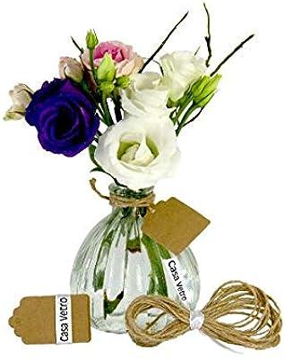 Casavetro - Juego de 6 jarrones pequeños de calabaza con tarjeta de acompañamiento para flores, jarrón de mesa, decoración para bodas, fiestas, botella de cristal transparente