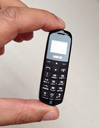 Long-CZ J8 Ultrakleines 3-in-1-Handy, simlockfrei, Bluetooth-Freisprechfunktion & Bluetooth-Kopfhörerfunktion, FM-Radio, Micro-SIM-Karte, WCDMA & GSM, 18g, Kunststoff, Schwarz