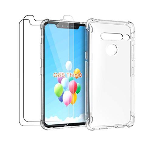 HYMY Hülle für LG G8s Thinq + 2 x Schutzfolie Panzerglas -Transparent Erdbebenresistenz Schutzhülle TPU Handytasche Tasche Verstärkung an Vier Ecken Hülle für LG G8s Thinq (6.21
