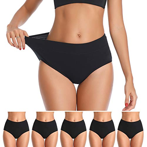 Womens Underwear, No Muffin Top Full Coverage Cotton Underwear Briefs Soft Stretch Breathable Ladies Panties for Women