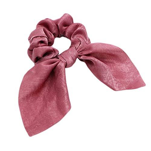 JOYKK Mesdames Brillant Unicolore Couleur Unie Gros Intestin Choueux Oreilles Ruban Bowknot Glitter Satin Cheveux Corde Titulaire De Queue De Cheval - B # Rose Sale