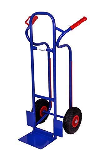 Sackkarre, Gleitkufen 250 kg, 111x50x53 cm, blau, pannensicheren Gummireifen (klappbare Schaufel) (Transportkarre Stapelkarre Handkarre, Umzugskarre, leichte Sackkarre aus Stahl klappbar für Umzug)