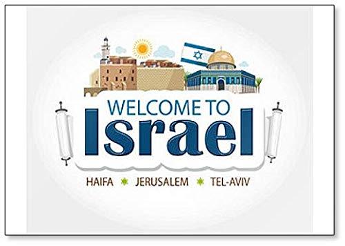 Im/án para nevera con texto en ingl/ésIsraelillustration Haifa Tel Aviv Jerusal/én
