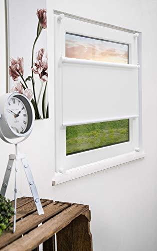 mydeco®2in1 KombinationRollovs.Plissee ohne bohrenmit Klemmträger 80x130cmweiss- Sonnenschutz Blickdicht Jalousie für Fenster & Tür
