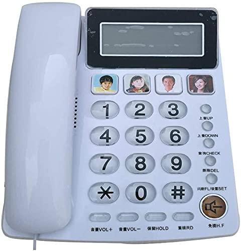 YYBBJH Teléfono de línea Fija para Personas Mayores con Cable Funciones de Despertador DREI. 50 Grupos de Llamadas a 32 Grupos para Utilizar Almacenamiento de Alta Capacidad. Función Manos Libres.