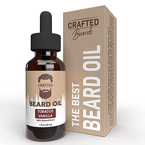 Best Beard Oil for men – Crafted Beard Oil Conditioner - Tobacco Vanilla Scent – All Natural Beard Oil and Mustache Oil – Quick Absorption – Made in the USA (TV)