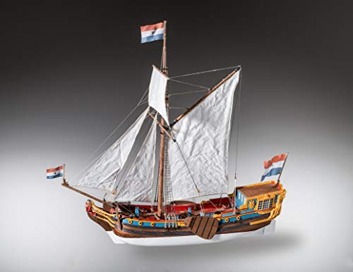 MAMOLI Ship Model Dutch Statenjacht Scale: 1/48 Length: 505mm, Width: 175mm, Height: 500mm