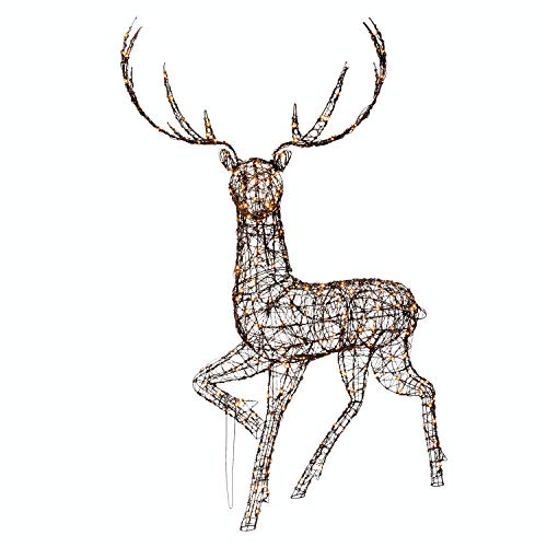 Noma Large Standing Reindeer Stag : Wicker : Easytimer : 320 Warm White LEDs : 1.9m Tall : 2519006