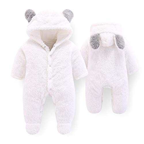 Guy Eugendssg Newborn Baby Winter Clothes Infant Baby Girls Soft Fleece Outwear Rompers-12M Boy Jumpsuit White 6M