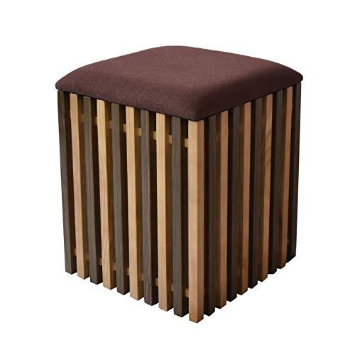 格子デザインでモダンな和♪ 収納スツール (ウォールナットブラウン) / 収納付きスツール 木製 玄関椅子 ...