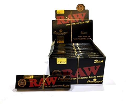 RAW Black Classic Connoisseur (King Size Slim Rolling Papers + Tips) Full box 24 Booklets