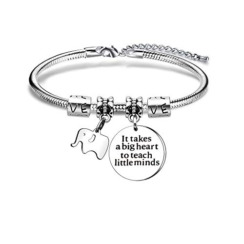 BHXRODE Teacher Bangle Bracelets Women Men Appreciation Gift Adjustable Elephant Jewelry It Takes A Big Heart to Teach Little Minds