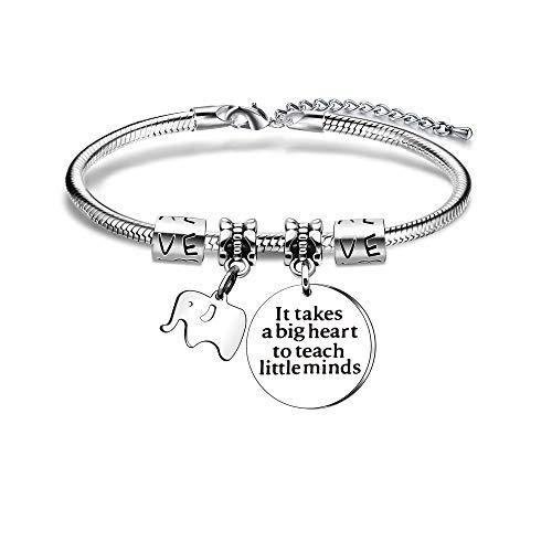 JIYAOANDX Teachers Day Bangle Women Men Teachers Appreciation Gift Bracelets Graduation Elephant Charm Jewellery It Takes A Big Heart to Teach Little Minds