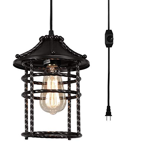 Creatgeek Vintage Pendant Light with 16' Plug in Cord and On/Off Dimmer...