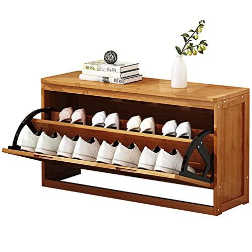 Zapatero de madera pequeño de 2 niveles con estante organizador de puerta de asiento, tamaño grande, 50 cm, 60 cm, 60 cm