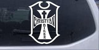 Rad Dezigns Christian Biker Cross Biker Car Window Wall Laptop Decal Sticker - White 5in X 3.7in