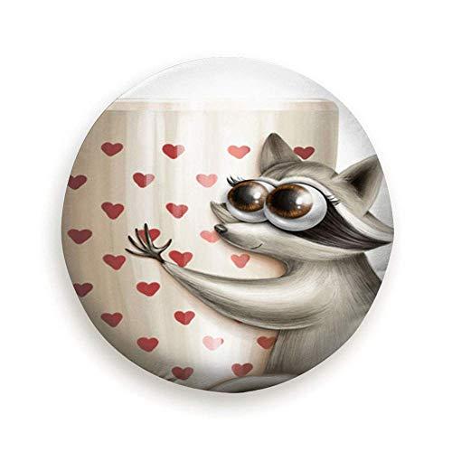 Wasbeer Mok Koffie Thee Digitale Cartoon Dieren Wildlife Dieren Eten en Drinken Reservewiel Bandafdekking Waterdicht Stofdicht Universeel voor veel voertuigen