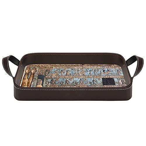 bandeja de cuero,bandeja de tocador decorativa,Tallas jeroglíficas en el antiguo templo egipcio,Bandeja de utilidad Oficina en casa Viaje Café Ba