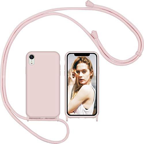 Nupcknn Funda Silicona Líquida con Cuerda para iPhone XR, Carcasa Suave Silicona Case con Correa Colgante Ajustable Collar Correa de Cuello Cadena Cordón(Oro Rosa)
