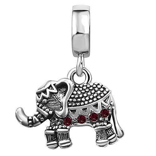 TGLS Dangle Lucky Elephant Charm with Jan-Dec Simulated Birthstone for Bracelets