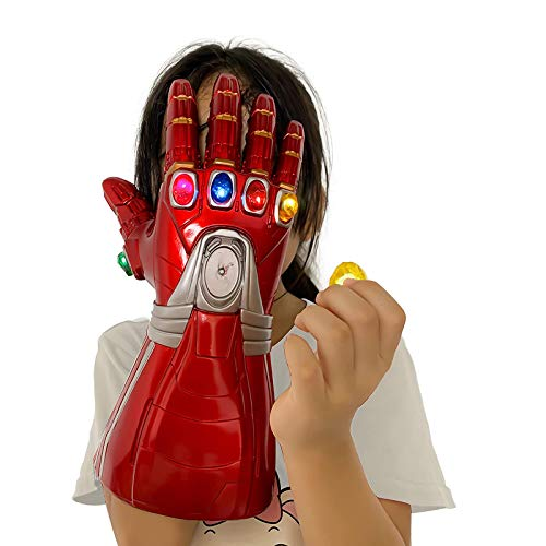 T-XYD Guantelete del Infinito, Guante Iron Man Infinity Gems con 6 Piedras LED magnéticas, Diseño removible, 3 Modos de Flash, Accesorios de Cosplay de Halloween para niños/Adultos,Kids