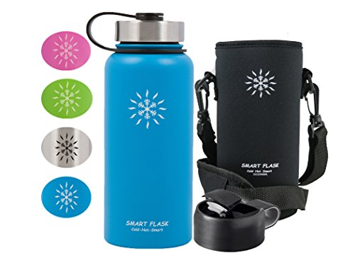 Smart Flask Stainless Steel Water Bottle, Wide Mouth, Vacuum Insulated, Includes Carrying Pouch with 59' Adjustable Shoulder Strap, Rugged Leakproof Stainless Steel Lid, and Flip Top Coffee Lid (Blue)