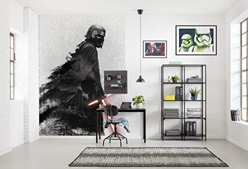 Komar Vlies Fototapete Star Wars Kylo Vader Shadow | Größe: 200 x 280 cm (Breite x Höhe), Bahnbreite 50 cm | Tapete, Wandbild, Dekoration, Wandbelag, Kinderzimmer, | DX4-074, schwarz, weiß