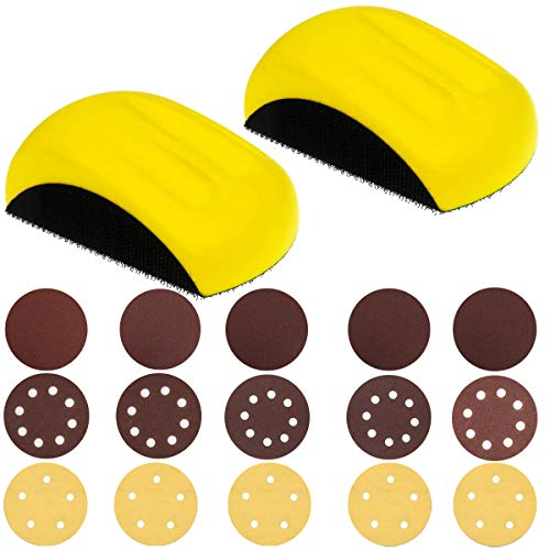 Hand Sanding Blocks, GOH DODD 5 Inch 2 Pieces Mouse Hook Backing Plate Sand Pad with 15 Pieces 5 Inch Hook and Loop Discs Ideal for Wood Furniture Restoration Home Arts Crafts Automotive