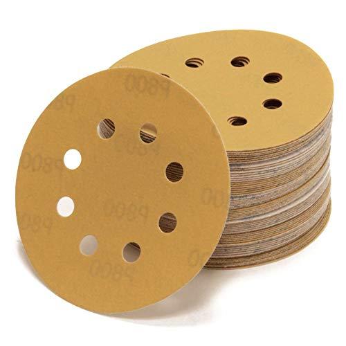 Woltersberger® 50 Stück Exzenter Schleifscheiben Ø 125mm | Körnung P240 | 8 Loch in gold | für optimales schleifen, vielseitig einsetzbar | Klett Schleifpapier Haft