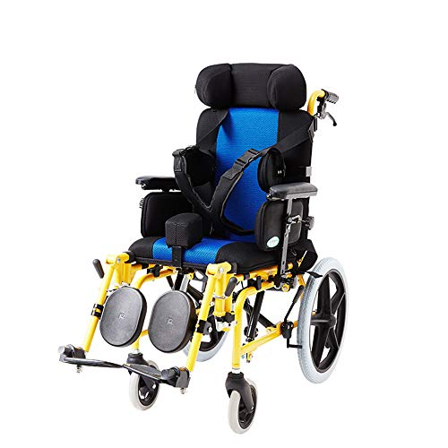Lightweight Folding Children's Wheelchair Driving Medical, Cerebral Palsy Children's Wheelchair Car Multi-Functional Disabled Children's Full Reclining Flat-Bed Wheelchair Stroller, with Dining Table