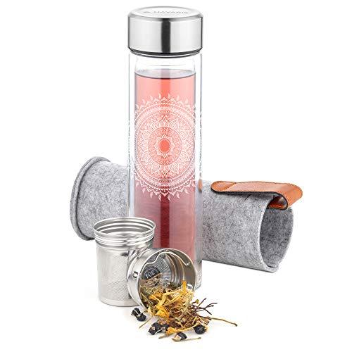 Navaris Bottiglia Termica Acqua Detox 500ml - Borraccia Vetro con Filtro - Teiera Portatile - Termos tè Tisane Infusi - Infusiera Tappo e Custodia
