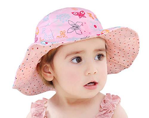 GeMVIE - Sombrero para niño o niña, antirrayos UV, de algodón, plegable, reversible, estampado de animales florales, para playa, verano, viaje rosa 48 cm