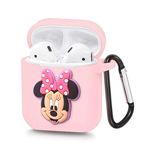 Pocoolo Airpods Case Airpods Accessories Protective Silicone Cover and Skin with Carabiner for Apple Airpods Charging Case