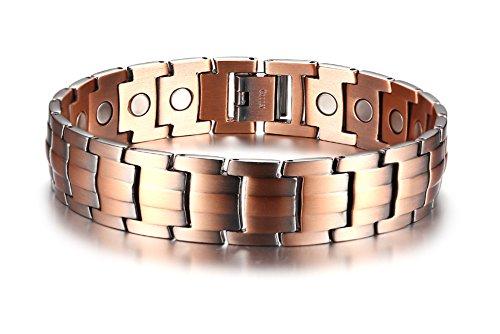 VNOX 15mm Rot Kupfer Magnetische Gesundheit Heilung Armband 21,5 cm, für Männer