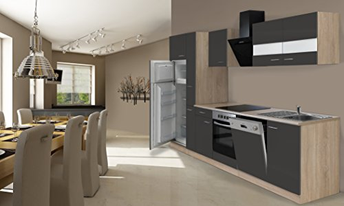 respekta Einbau Küche Küchenzeile 310 cm Eiche Sonoma Sägerau Grau inkl. Kühl- Gefrierkombi Ceran & Geschirrspüler