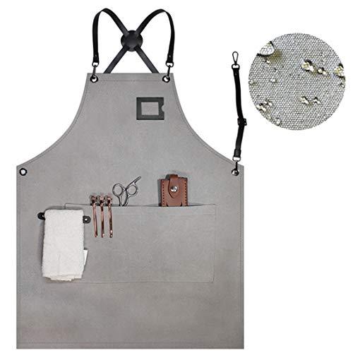 WQYH wasserdichte Unisex Leinwand Küche Kochschürze Friseur/Barista/Backen/Restaurant/Florist/Kellnerin/Arbeit/Garten/Grill Schürze B1