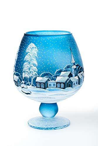 AROMA HOME STUDIO ART PAINTING Weihnachts Windlicht Teelichthalter, Winter-Design Relax, Weinglas (blau, groß)